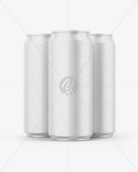 Three Matte Cans Mockup