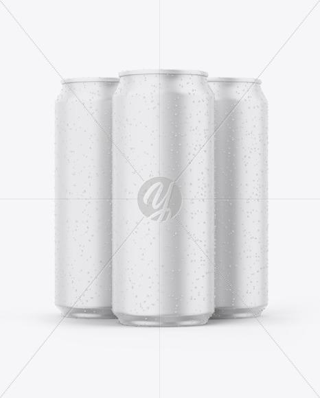 Three Matte Cans Mockup