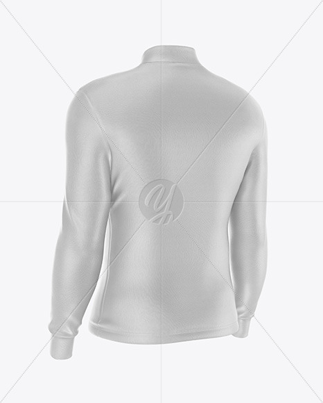 Men's Jersey With Long Sleeve Mockup - Back Half Side View