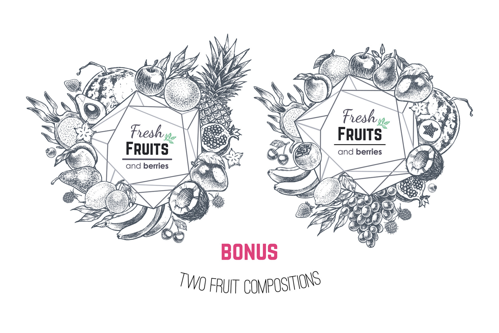 Fruits - hand drawn vector set