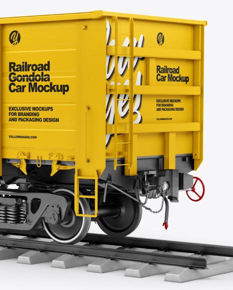 Railroad Gondola Car Mockup