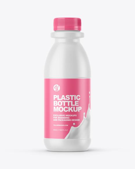 Dairy Bottle with Matte Shrink Sleeve Mockup