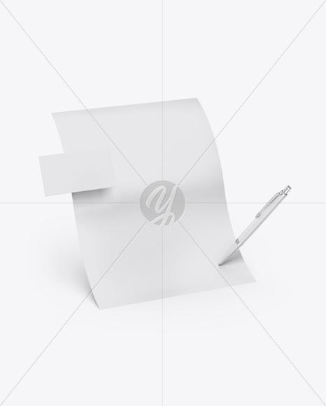 Textured Paper, Pen & Card Mockup
