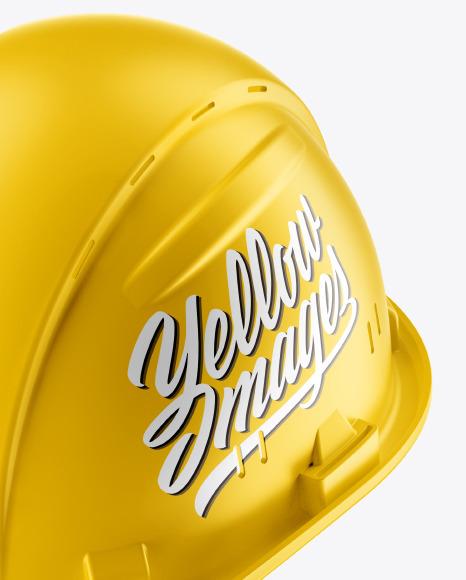 Matte Hard Hat Mockup - Half Side View