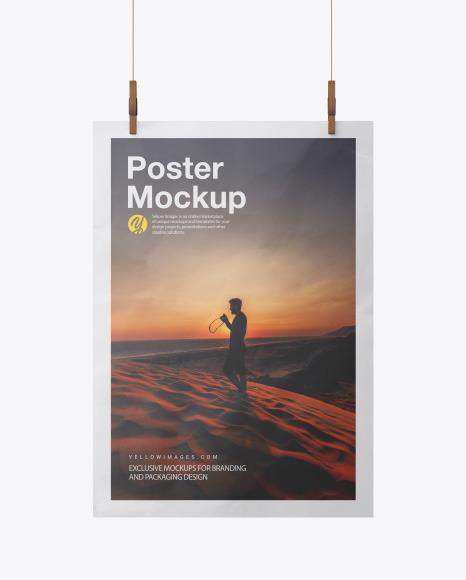 Crumpled A3 Poster Mockup