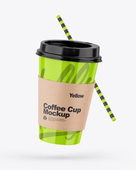 Download Glossy Coffee Cup W Straw PSD Mockup