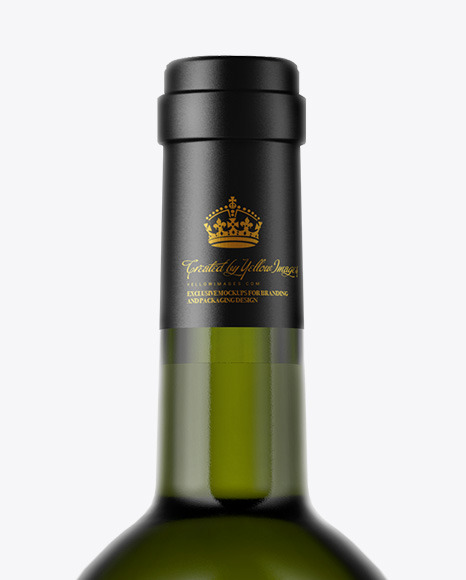 Green Glass White Wine Bottle Mockup