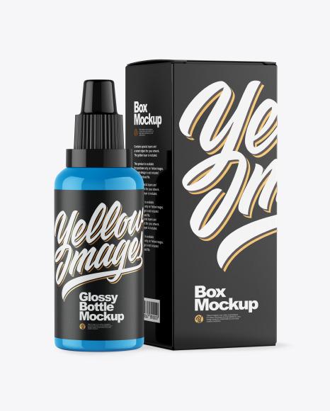 Download Glossy Bottle W Box PSD Mockup