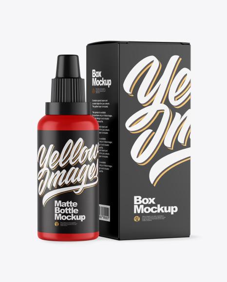 Download Matte Bottle W Box PSD Mockup