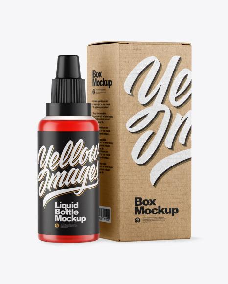 Color Liquid Bottle W/ Box Mockup