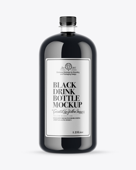 Download Plastic Bottle With Black Drink PSD Mockup