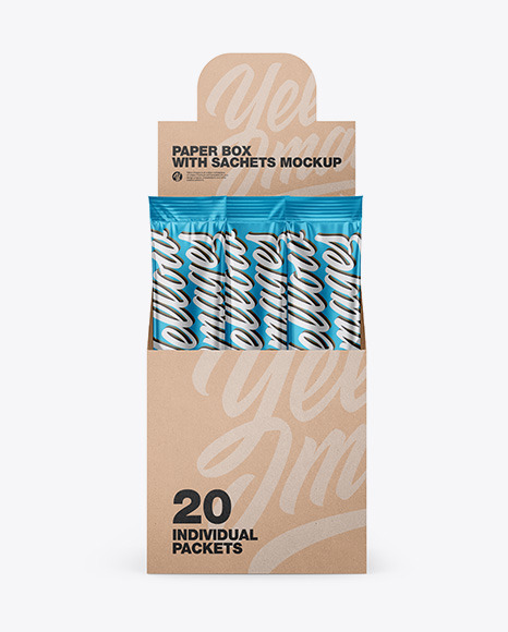 Download Opened Box w 20 Metallic Sachets Front View PSD Mockup