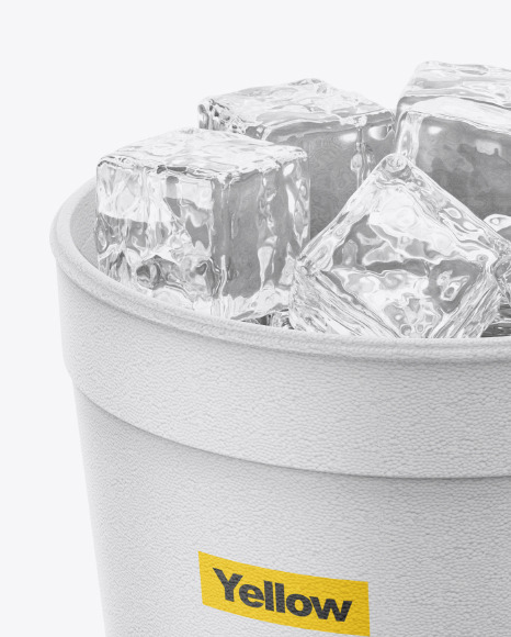 Styrofoam Cup With Ice Mockup
