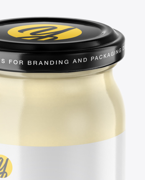 Clear Glass Mayonnaise Sauce Jar Mockup