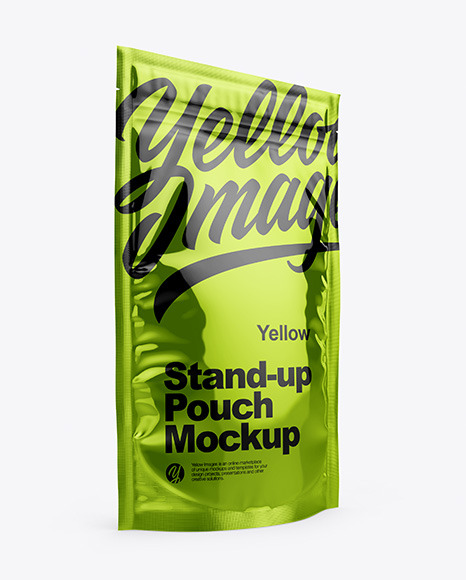 Download Metallic Stand Up Pouch with Zipper PSD Mockup
