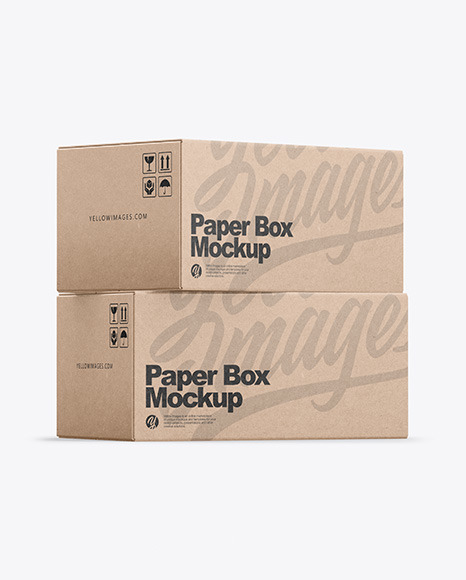 Download Two Kraft Boxes PSD Mockup