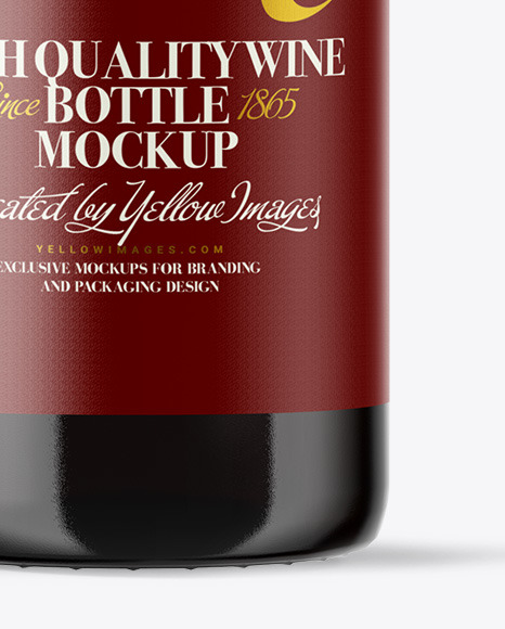 Amber Glass Red Wine Bottle Mockup
