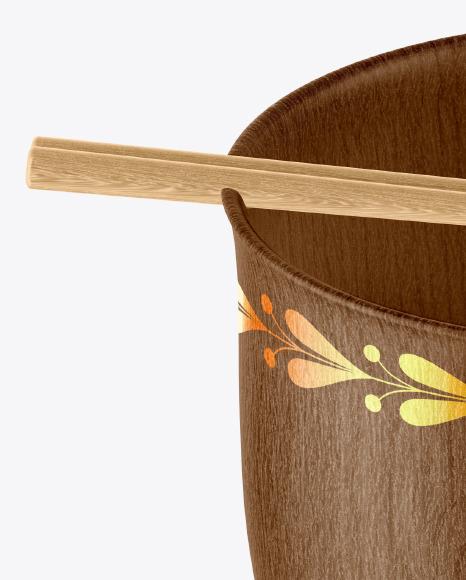 Wooden Noodle Bowl Mockup