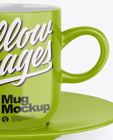 Glossy Mug with Plate mockup