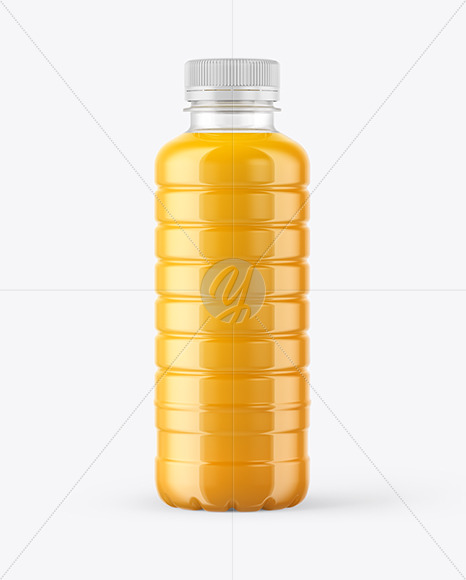 Clear PET Bottle with Juice Mockup