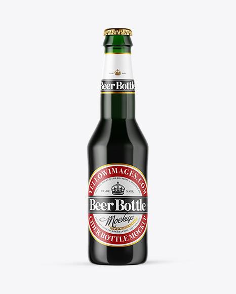 Download Green Glass Dark Beer Bottle PSD Mockup