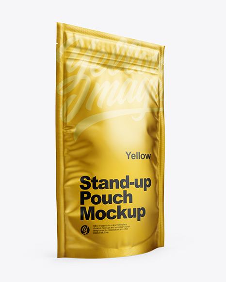 Download Matte Metallic Stand Up Pouch with Zipper PSD Mockup