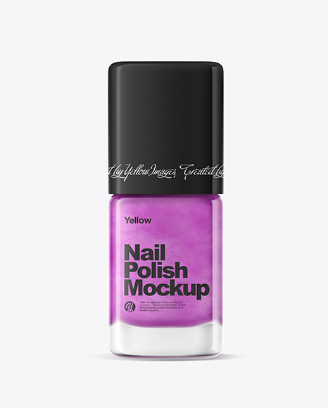 Download Nail Polish Bottle w Glossy Cap PSD Mockup