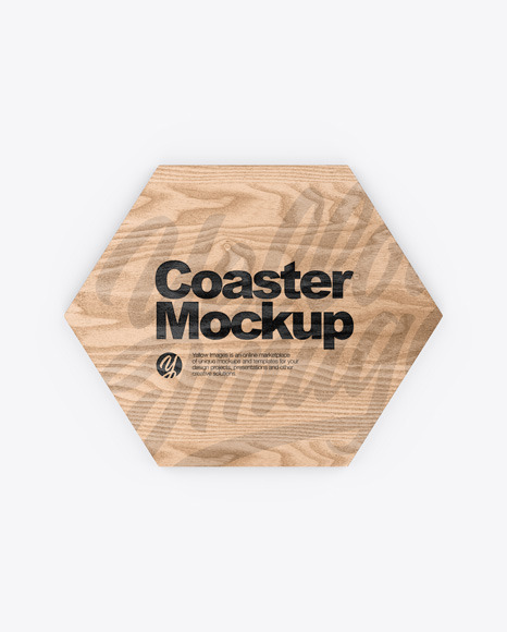 Download Wooden Beverage Coaster PSD Mockup
