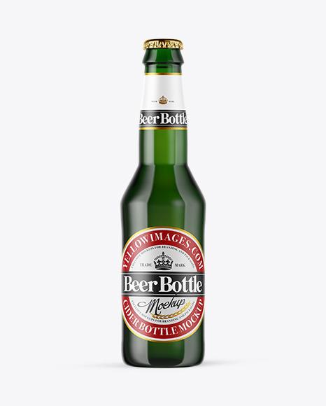 Download Green Glass Beer Bottle PSD Mockup