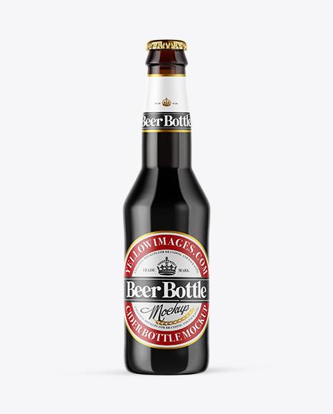Download Amber Glass Dark Beer Bottle PSD Mockup