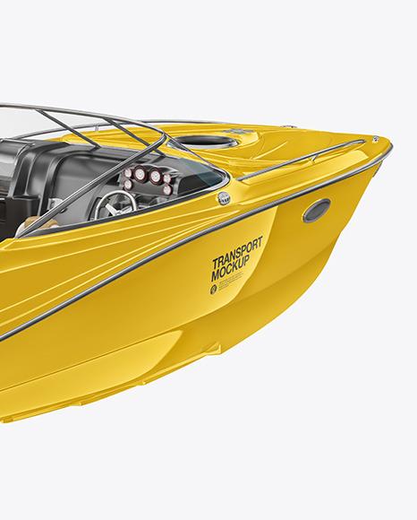Download Sea Boat 24 ft Half Side Back View PSD Mockup