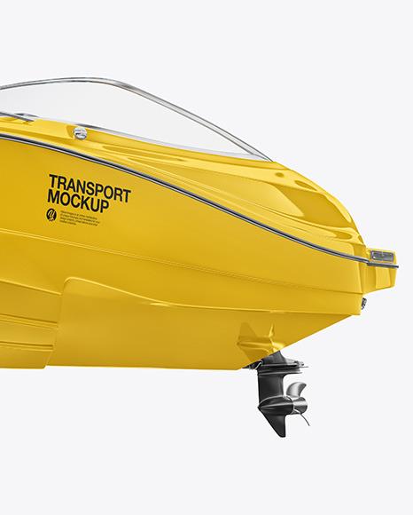 Download Sea Boat 24 ft Left Half Side View PSD Mockup