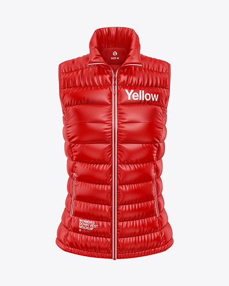 Glossy Women's Down Vest Mockup - Front View