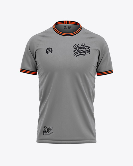 Download Mens Crew Neck Soccer Jersey Front View PSD Mockup
