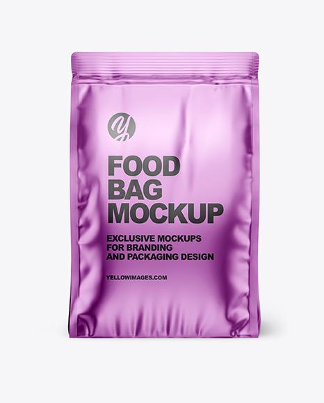 Download Metallic Matte Food Bag PSD Mockup