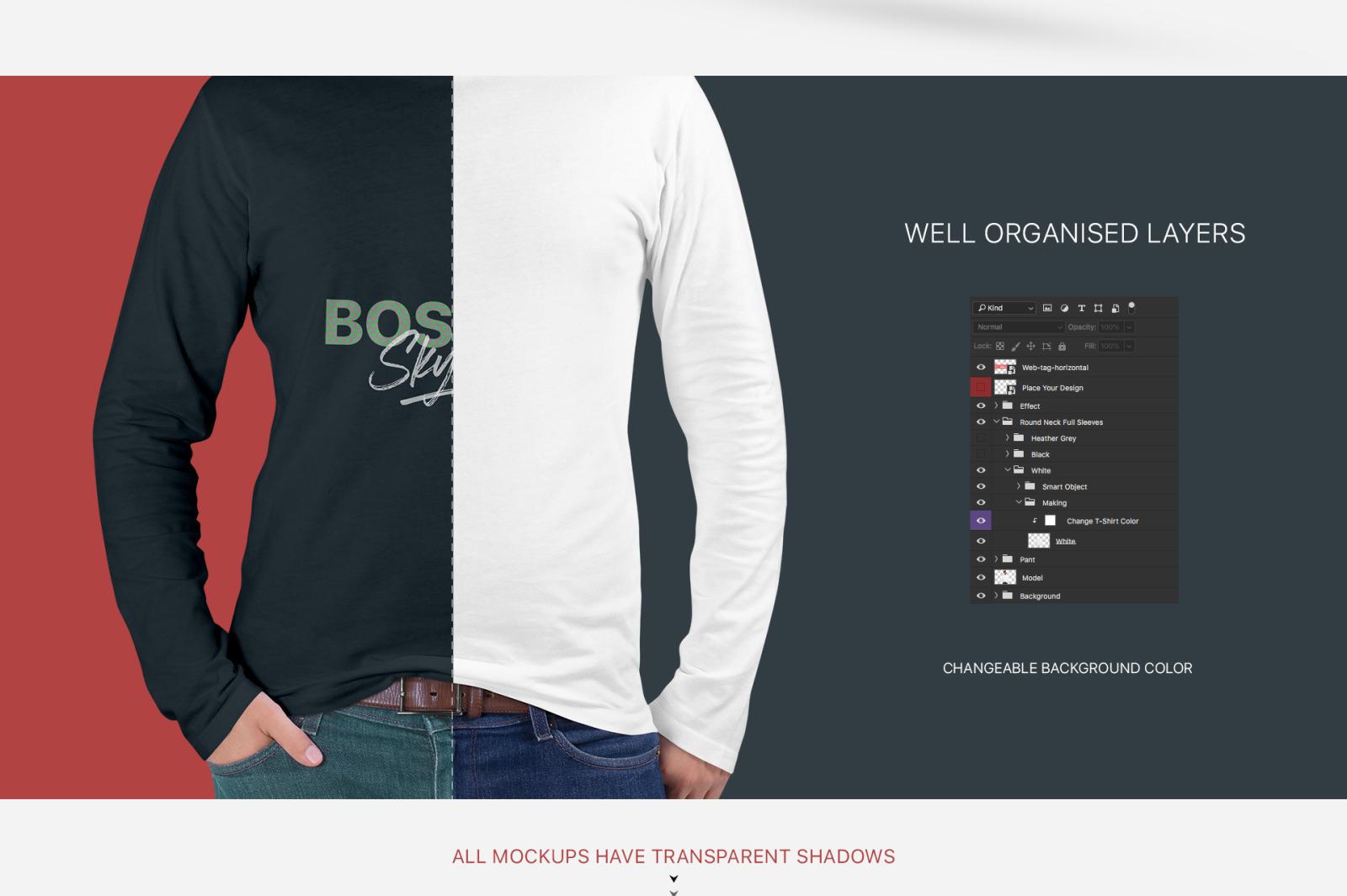 High Resolution Black Long Sleeve T Shirt Mockup