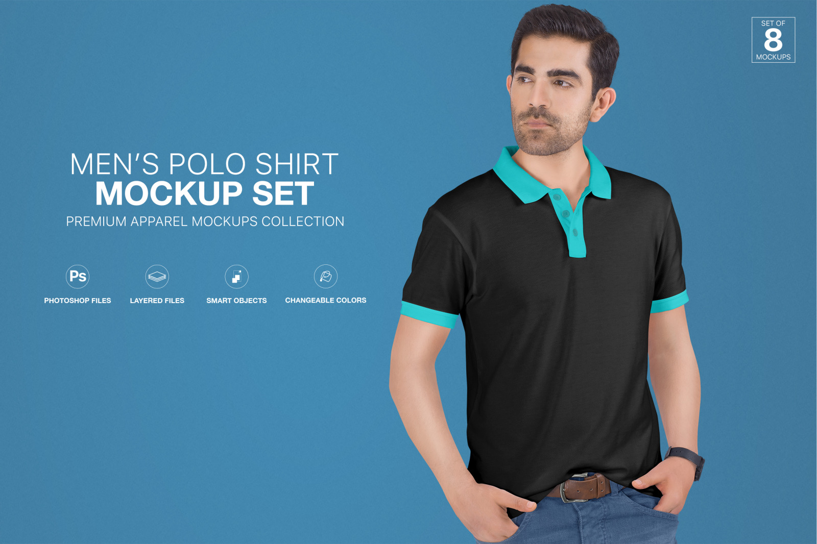 Download Men S Polo T Shirt Mockup Set In Apparel Mockups On Yellow Images Creative Store PSD Mockup Templates