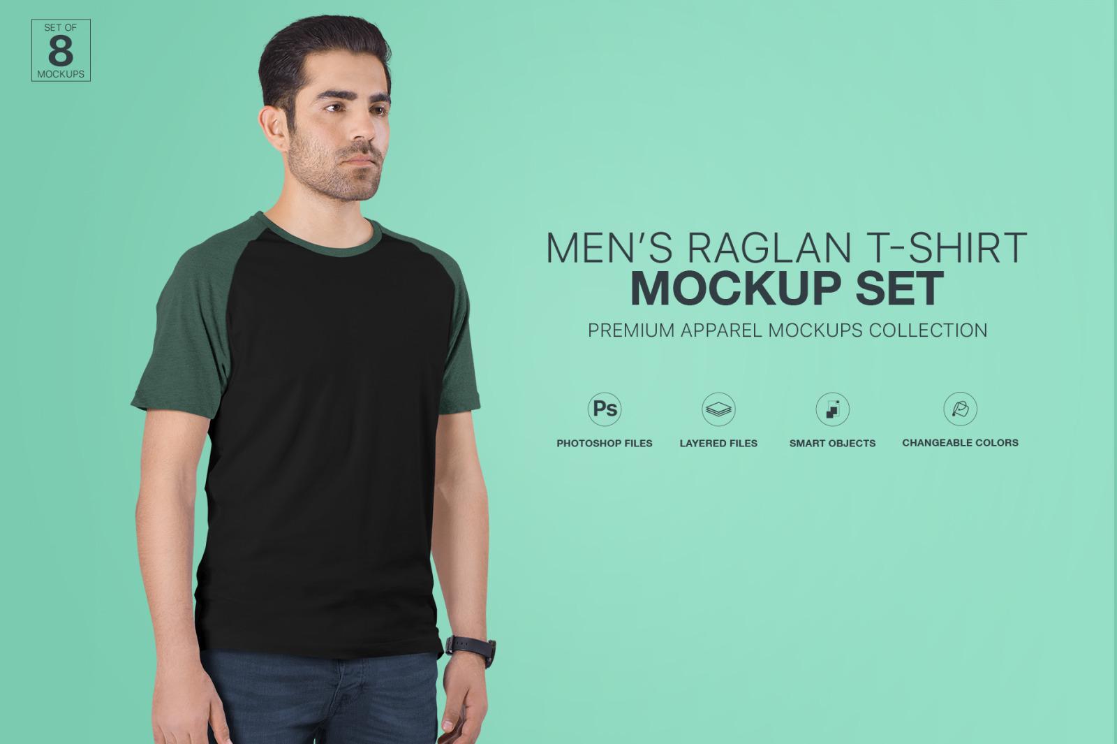 Men's Raglan T-Shirt Mockup Set