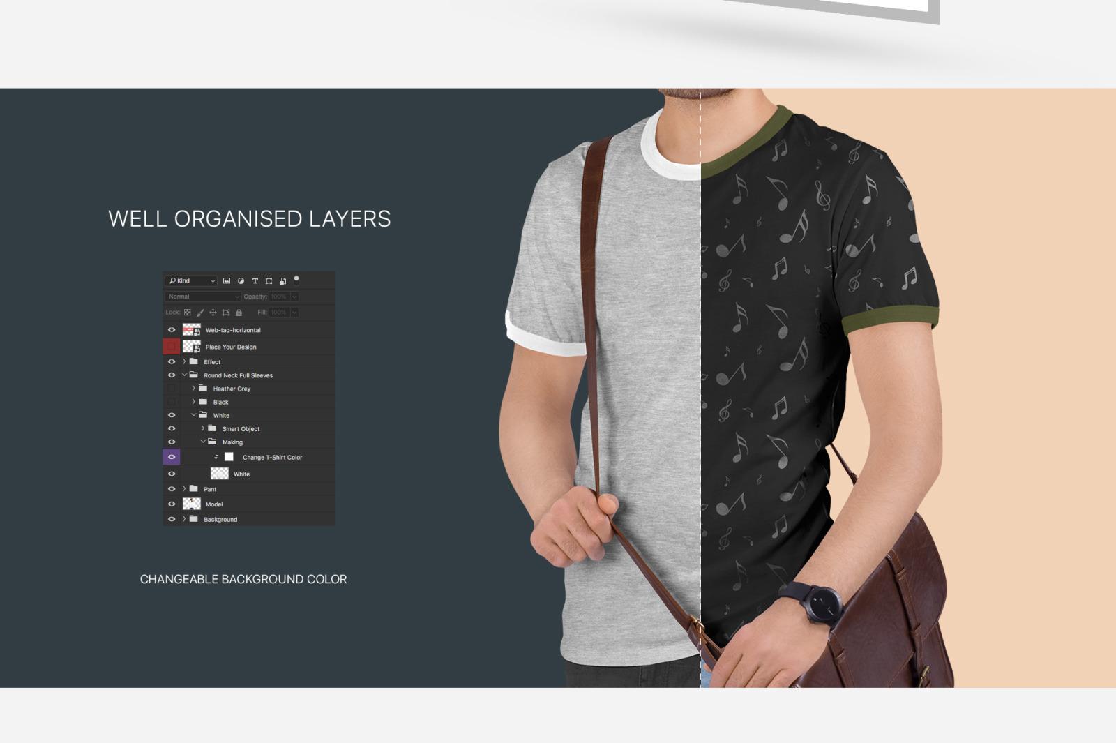 Men's Ringer T-Shirt Mockup Set