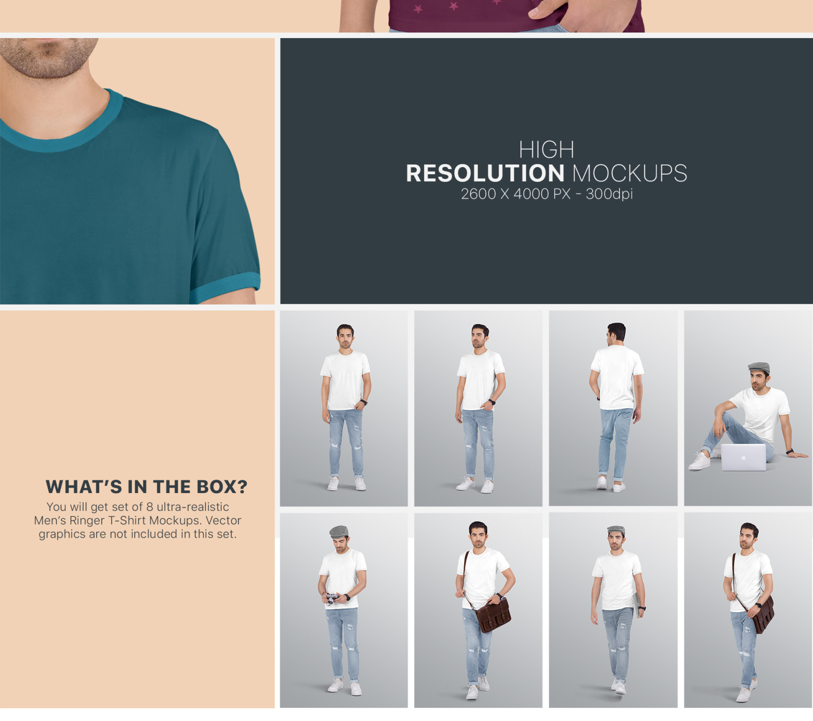Men S Ringer T Shirt Mockup Set In Apparel Mockups On Yellow