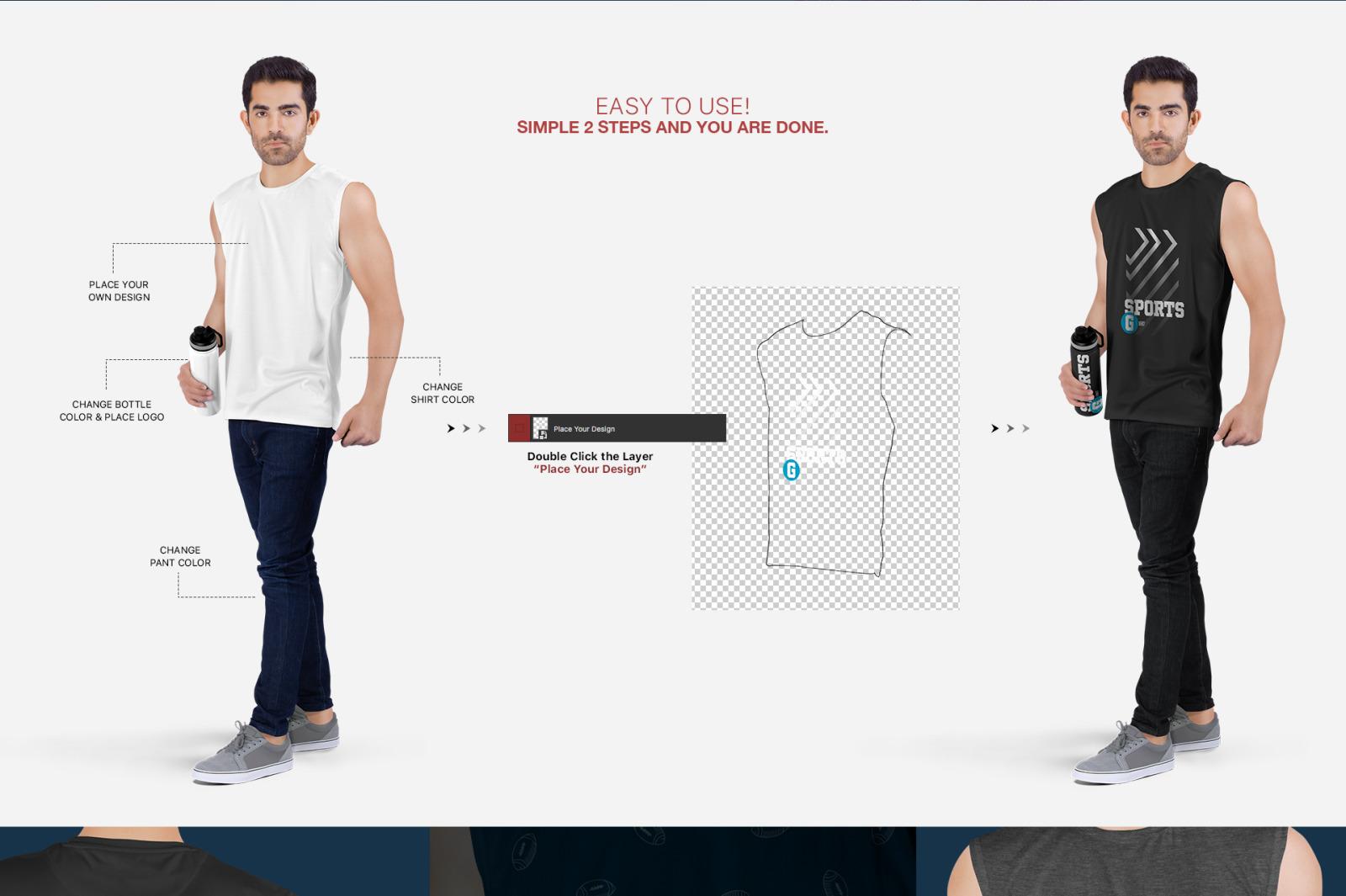 Men's Sleeveless Shirt Mockup Set