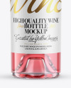 Clear Glass Rose Wine Bottle Mockup