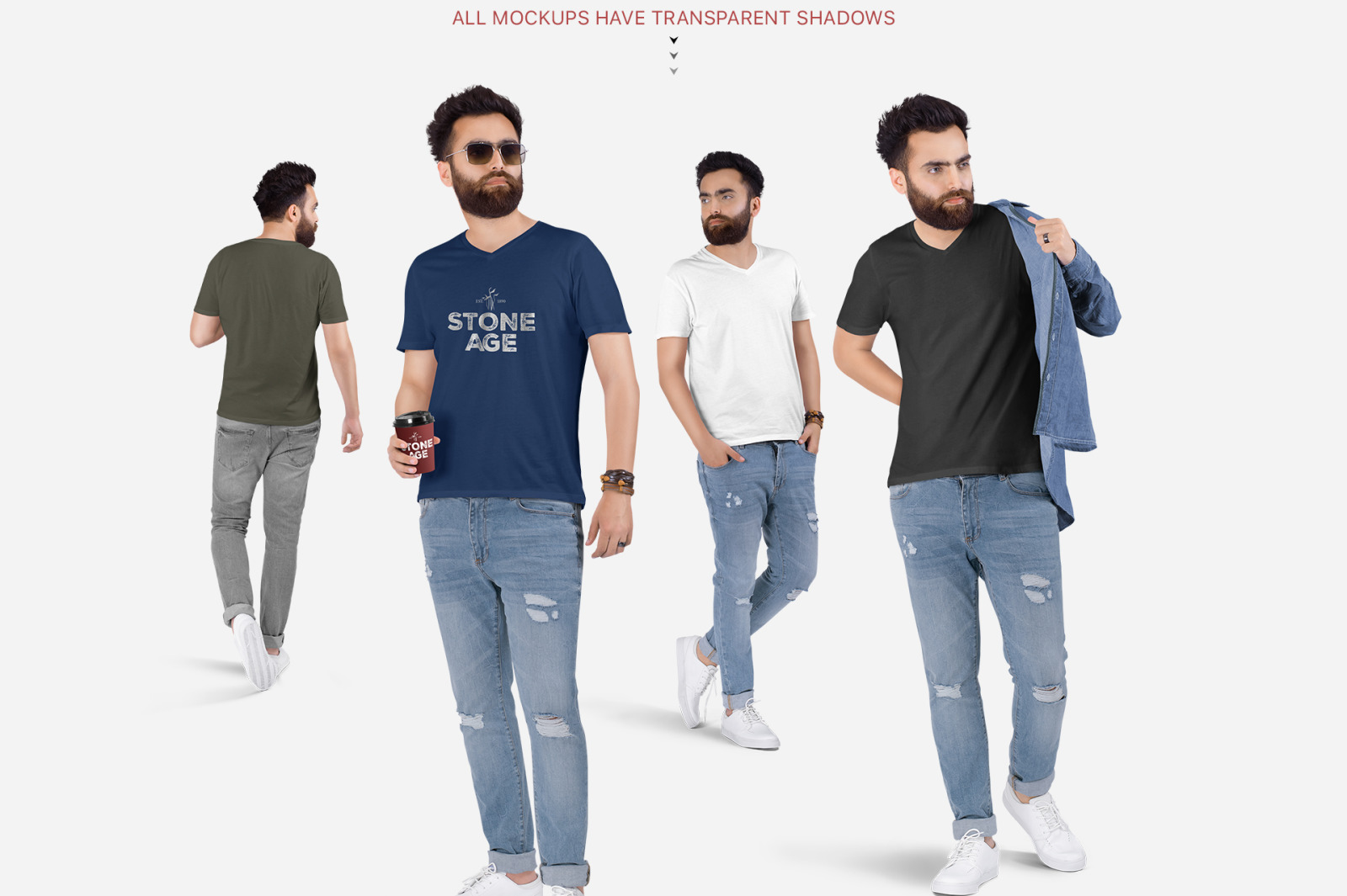 Men's V-Neck T-Shirt Mockup Set