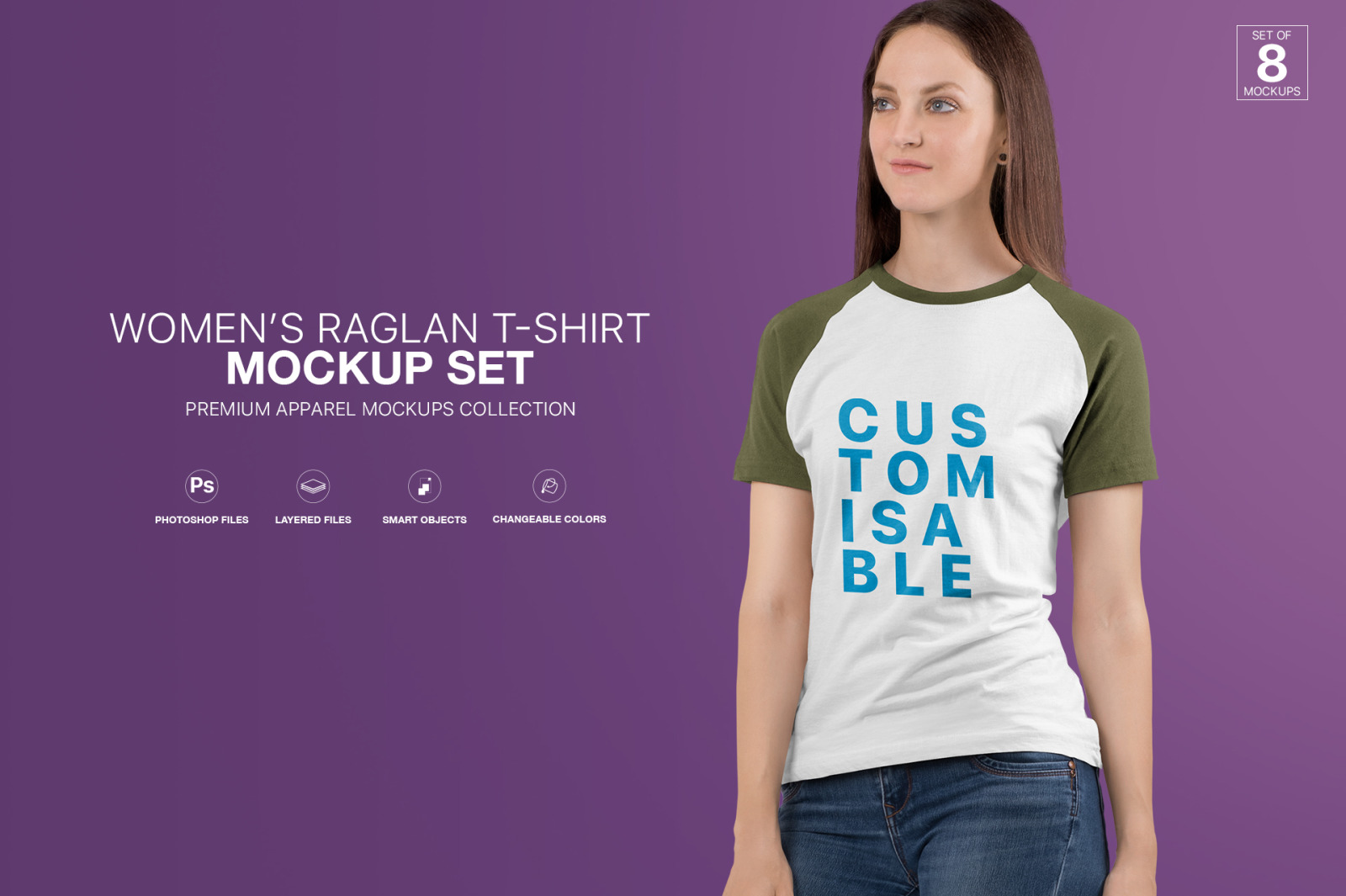 Download Women S Raglan T Shirt Mockup Set In Apparel Mockups On Yellow Images Creative Store PSD Mockup Templates