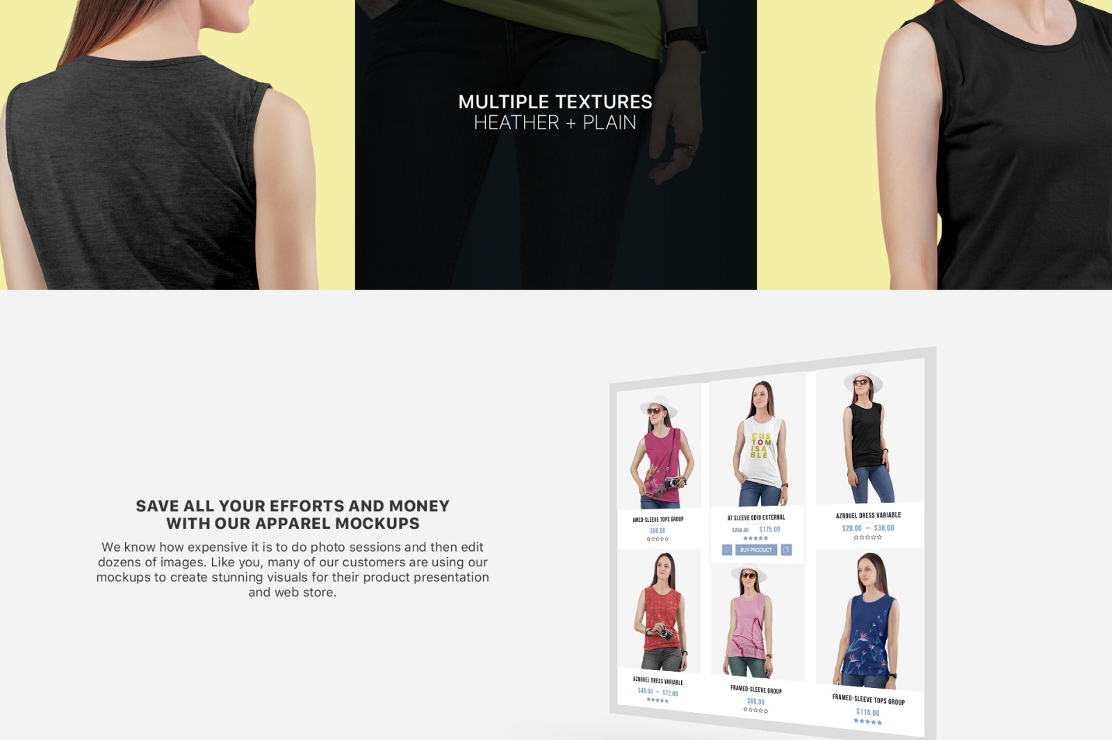 Women S Sleeveless Shirt Mockup Set In Apparel Mockups On Yellow