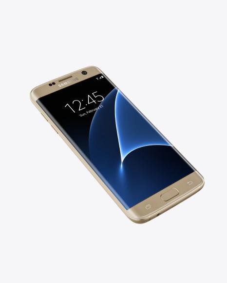 Download Gold Platinum Samsung Galaxy S7 Phone PSD Mockup