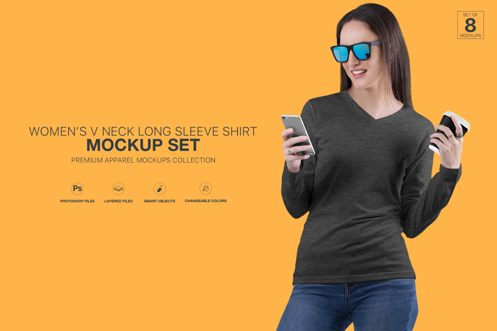 Women S V Neck Long Sleeve Shirt Mockup Set In Apparel Mockups