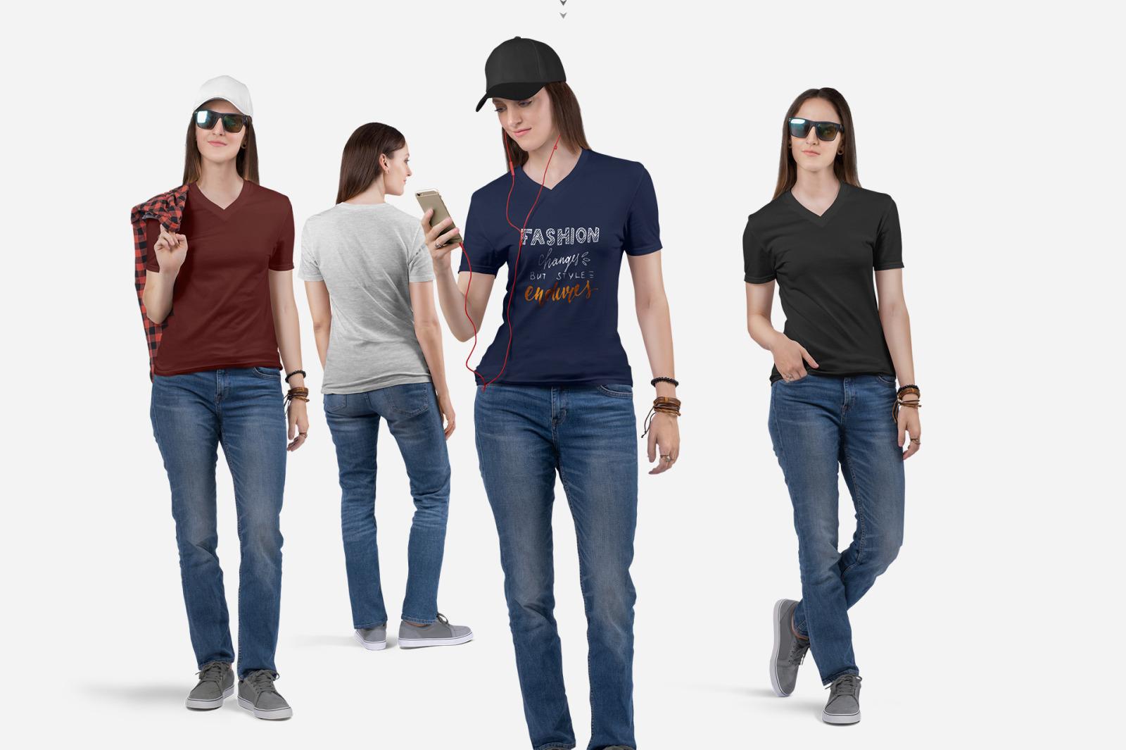 Women's V Neck T-Shirt Mockup Set