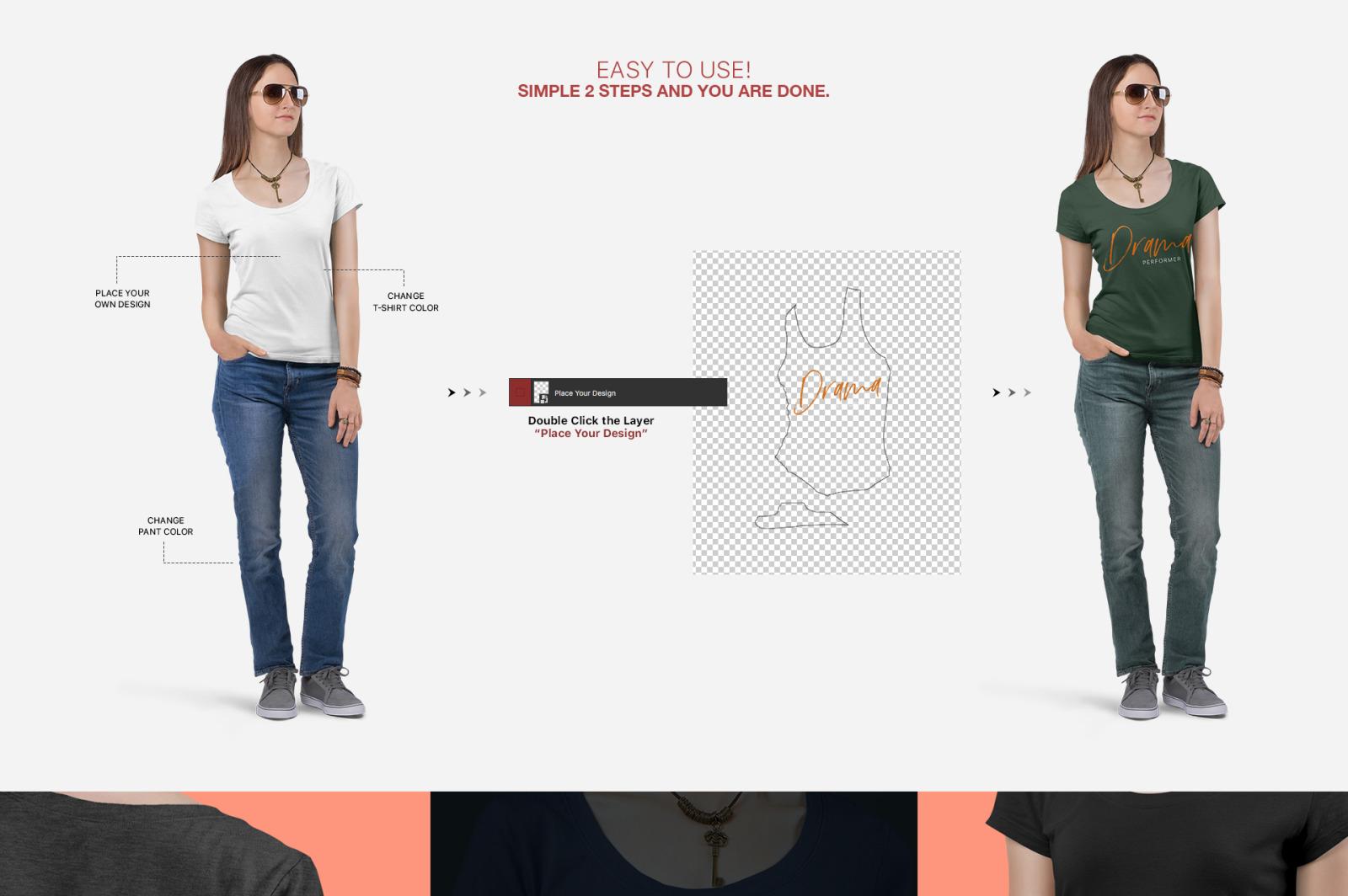 Women's Short Sleeve T-Shirt Mockup Set
