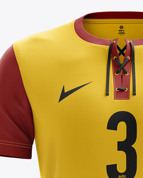 Download Mens Full Soccer Kit With V Neck Shirt Mockup Hero Shot Yellow Images